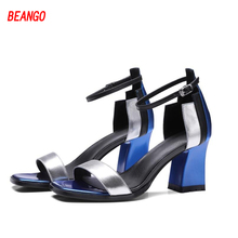 BEANGO 2017 Summer Fashion Women Sandals Mixed Color Buckle Ankle Strap High Square Thick Heels Ladies Shoes Hot Sale