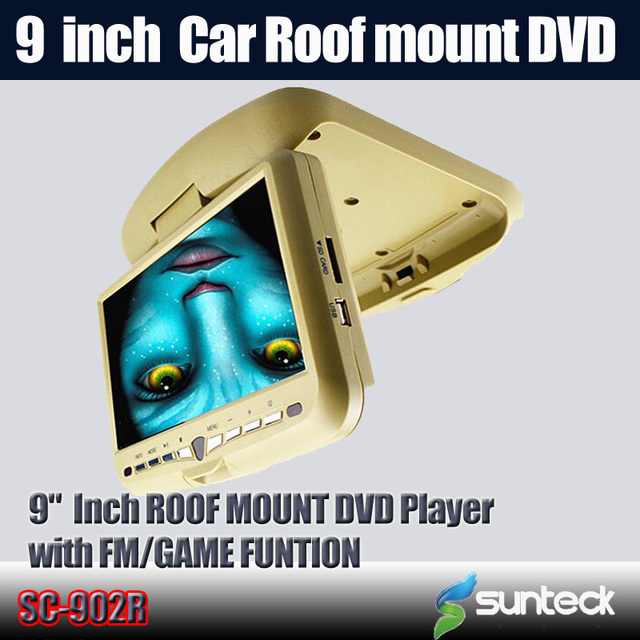 Free Shipping  9 inch Roof Mount Car DVD player with 32bit game+MPEG4+USB+SD+FM+IR funtions