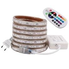 RGB HA CONDOTTO LA Luce di Striscia AC 220V SMD 5050 Flessibile Impermeabile del Nastro del LED 60LEDs/m Nastro per il Giardino 1M/2M/3M/4M/5M/6M/7M/8M/10M/15M/20M