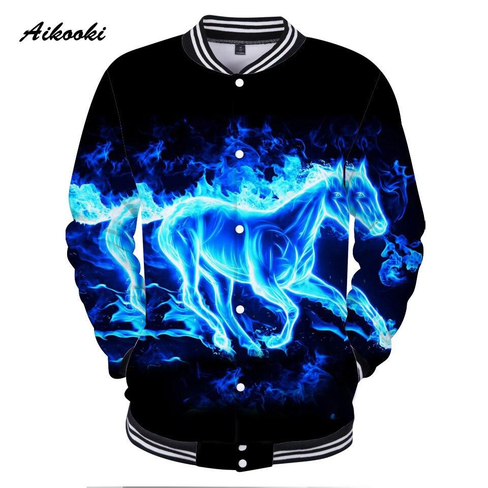 Sweatshirt 3D Coats Horse-Jackets Flame-Horse Clothing Baseball Hip-Hop Blue Fashion