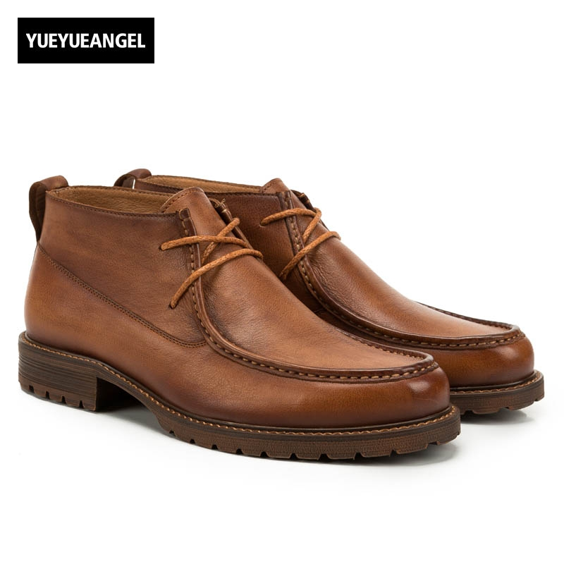 2017 Vintage Genuine Leather Cow Mens Lace Up Ankle Boots Round Toe Work Shoes Male Low Heel England Style Warm Breathable Brown orange combat chinese women ankle boots 2016 round toe suede autumn fall flat lace up shoes work military genuine leather 2017