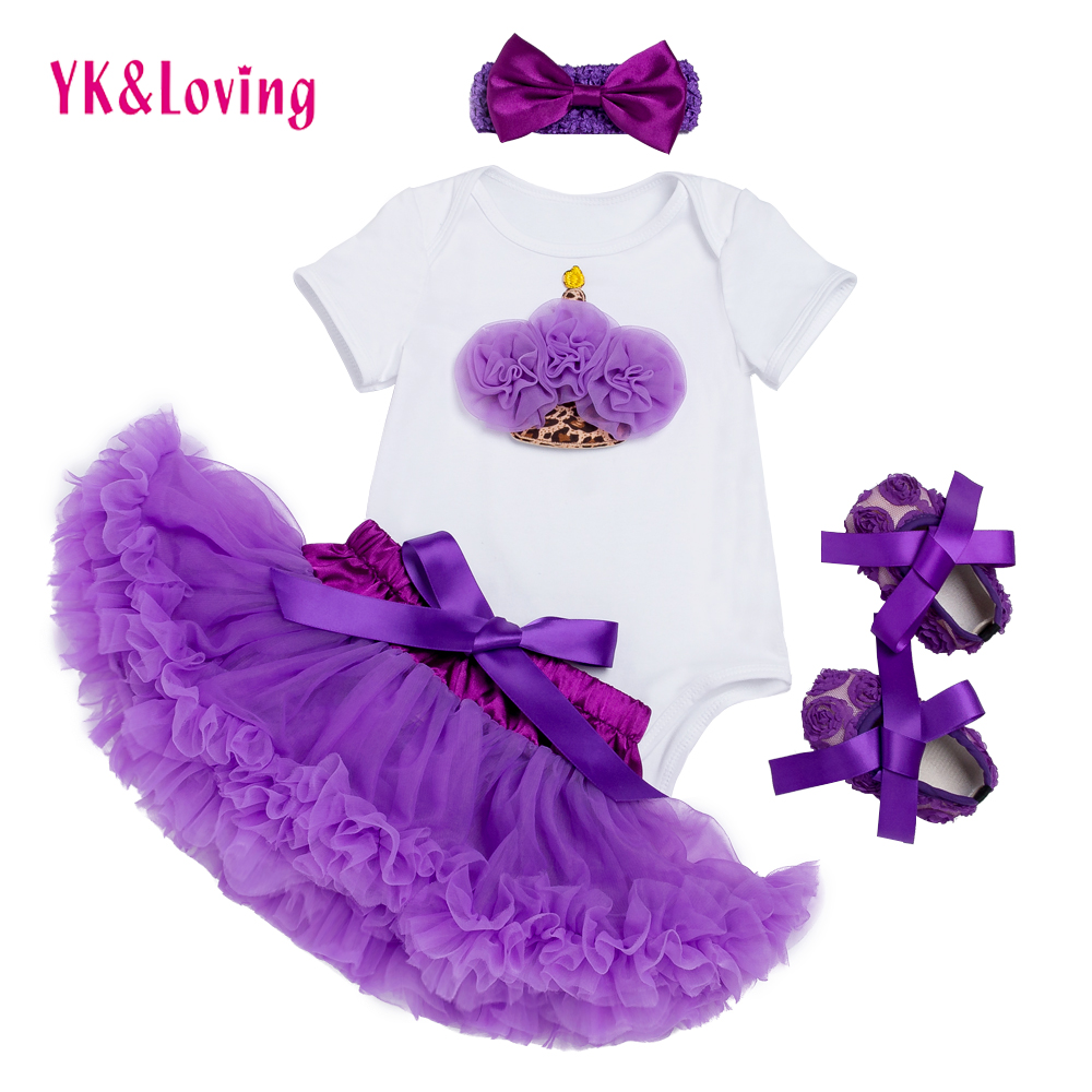Фото Girls Tutu Skirts Purple Baby Short Romper Infant Clothing Sets Dance Skirt Lace Pettiskirt Children Clothes & shoes F5029
