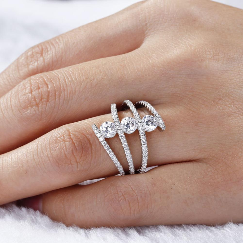 Jewelry Rings Rhinestone Spiral Fashion Women Wedding for Three