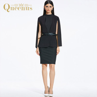 Queenus 2017 Women Suits Autumn Top Blazer V Neck Sleeveless Dress Belted Knee Length Black Elegant