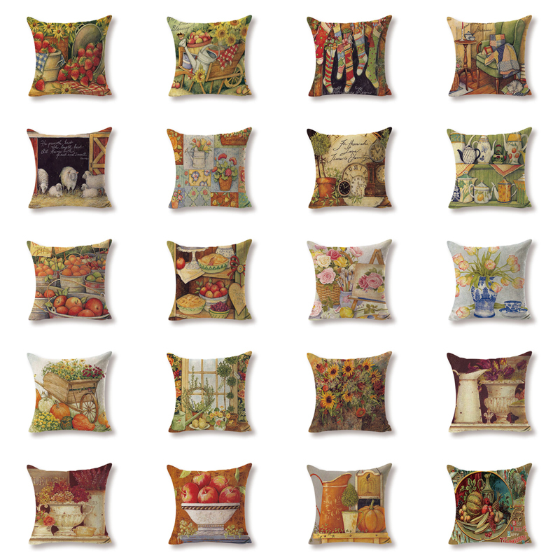 Romantic Cushion Cover Country Style Dinner Pillow Cover Game Cotton Linen Decoration For Home Zaka Fruit Throw Pillow Covers