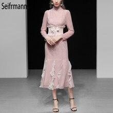Seifrmann New 2019 Women Elegant Spring Dress Runway Fashion Designer Long Sleeve Ruffles Bow Tie Dot Printed Casual Dresses