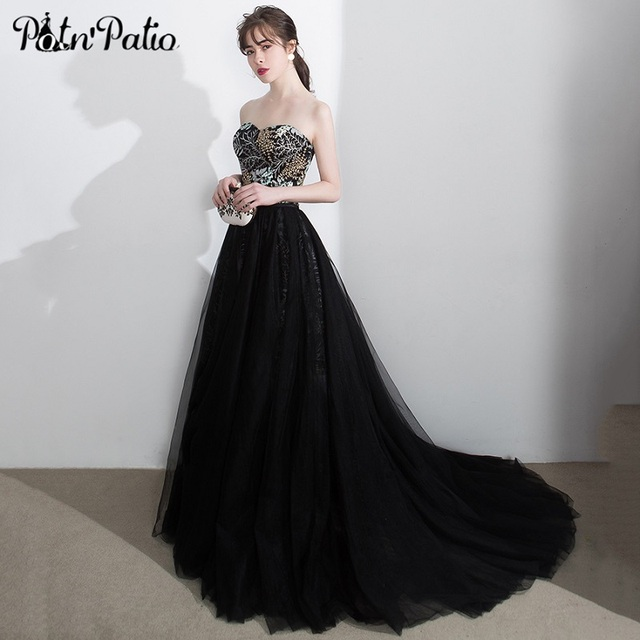 392919b50c Elegant Strapless Prom Dress with Detachable Train Sexy Off the Shoulder  Open Back Black Tulle Long Formal Party Gown for Women