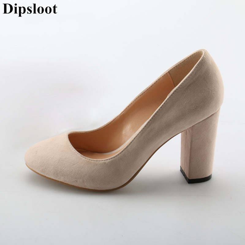Dipsloot 2018 Suede Leather Square High Heels Dress Party Shoes For Ladies Round Toe Slip-on Pumps Girls Simple Solid Shoes black ladies cool casual pumps wedge korean slip on high heels suede creepers big size 4 34 green platform shoes round toe