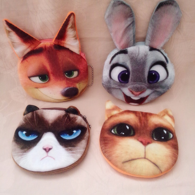 Cartoon Animal Coin Purse Girls Plush Mini Change Wallets Women Key Bag 2017 Newest monedero Children Kid Cute Gift bolsa moeda