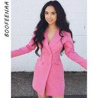 BOOFEENAA Double breasted Suit Jacket Long Blazer Coat White Black Pink Fall Winter 2019 Women Blazers and Jackets C92 BZ35