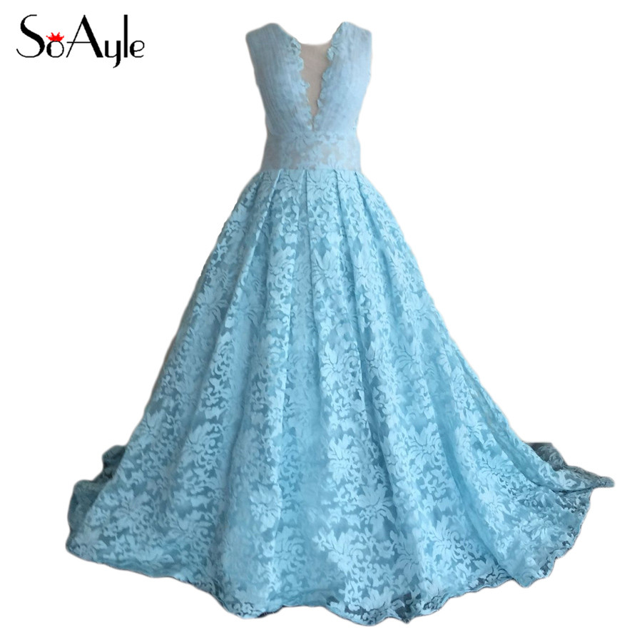 SoAyle Ball Gown Puffy Lace Long Prom Dresses 2016 Maxi Vestidos ...