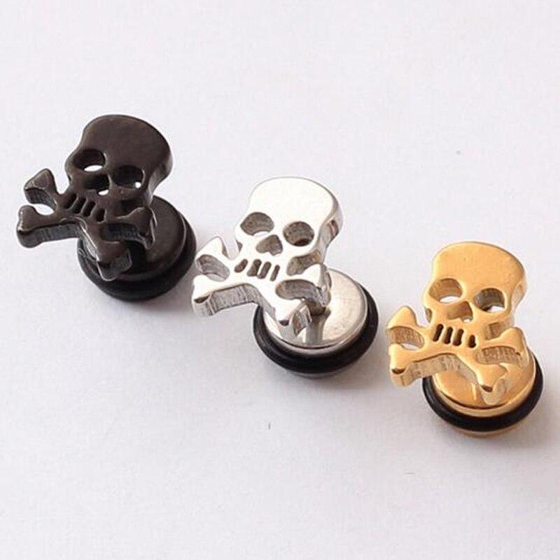 2 Pieces Punk Skull Stainless Steel Stud Earring Men Boy Earing Skulls Body Piercing Jewelry Black In Earrings From Accessories