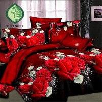 Hot sale 3d bedding sets 4pcs duvet cover set queen twin king bed set red rose nice bedclothes romantic #2