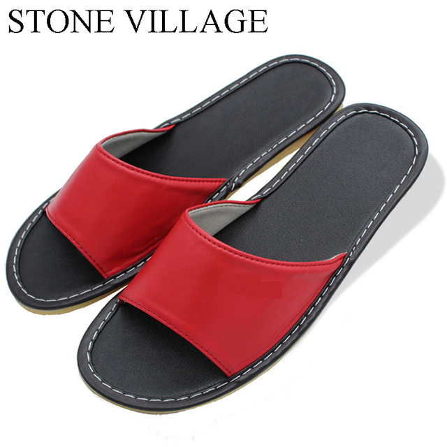 STONE VILLAGE Shoes Woman Leather Home Slippers Couples Home Indoor Shoes Leather Slippers Men And Women Summer Shoes 8 Colors