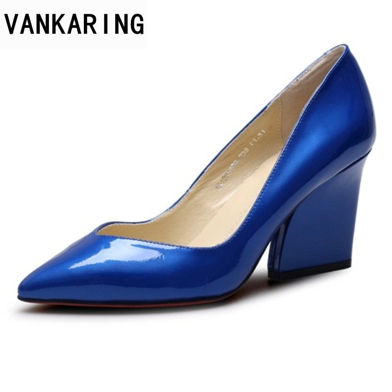VANKARING new cow leather women shoes high heels pointed toe blue platform shoes woman dress party