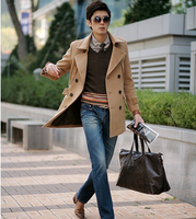 Khaki 2014 New Winter Double Breasted Wool Coat Men Youth Fit Slim Mens Pea Coat Woolen