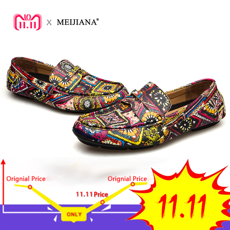 MEIJIANA Brand Leather Men Flats 2018 New Men Casual Shoes High Quality Loafers Driving Shoes Colorful Fashion Boat Shoes brand new fashion summer spring men driving shoes loafers pu leather boat shoes breathable male casual flats loafers big size
