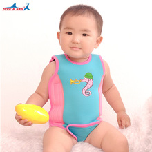 Swimsuit Neoprene One Piece Swimwear Keep Warm Lovely Cartoon Boys and Girls Swimming Vest For Baby from 6 Months to 6 Years old