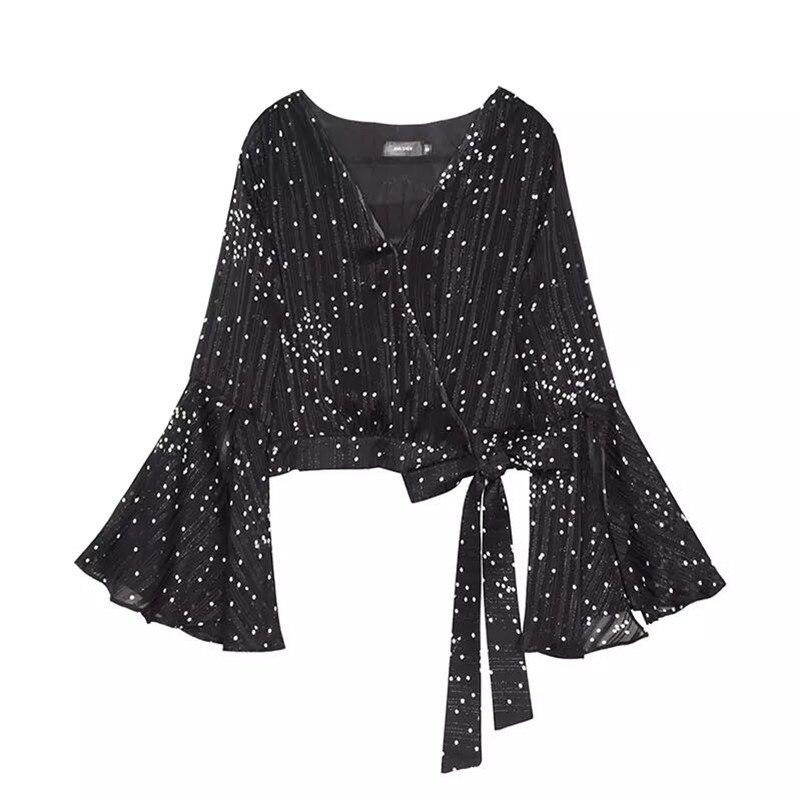 Women 2018 Spring Summer Fashion Chiffon Shirts Sexy Deep V Neck Black Polka Dot Blouse Big Flare Sleeve Crop Tops Casual Shirts