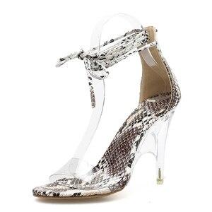 Image 3 - Kcenid Sexy PVC transparent talons hauts chaussures compensées pour femmes sandales bout ouvert cristal talon robe chaussures de fête serpent impression sandales