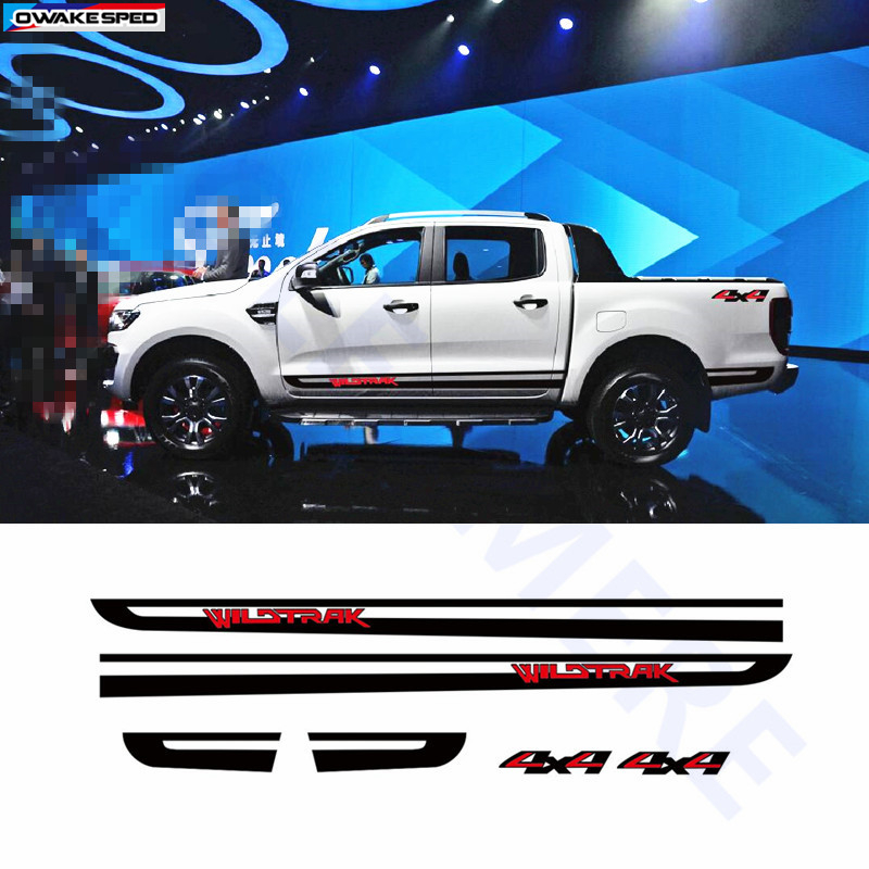 Wildtrak 4x4 Graphics Vinyl Decal Car Stickers Door Side Skirt Stripes For Ford Ranger Pick Up Trunk Exterior Accessories