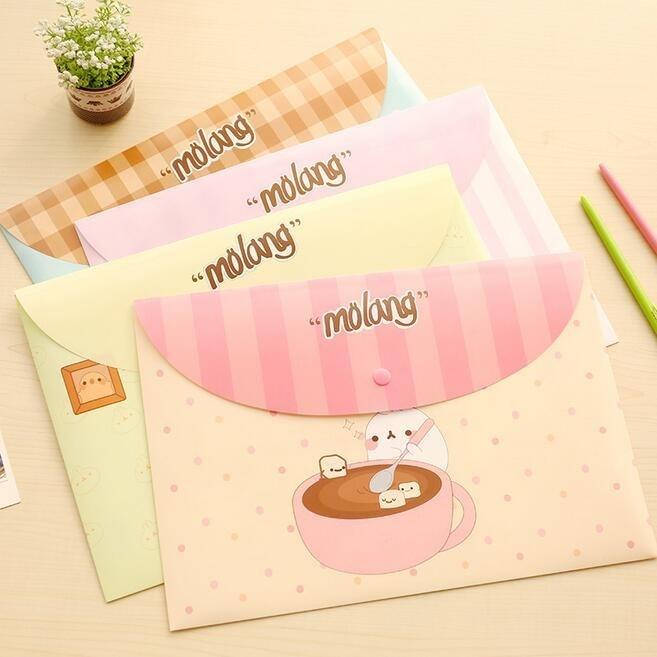 24pcs/lot 336*232mm Korea Cute Potato Rabbit Series File Bag PVC Waterproof Filebag DIY Stationery Bag Office School Supplies