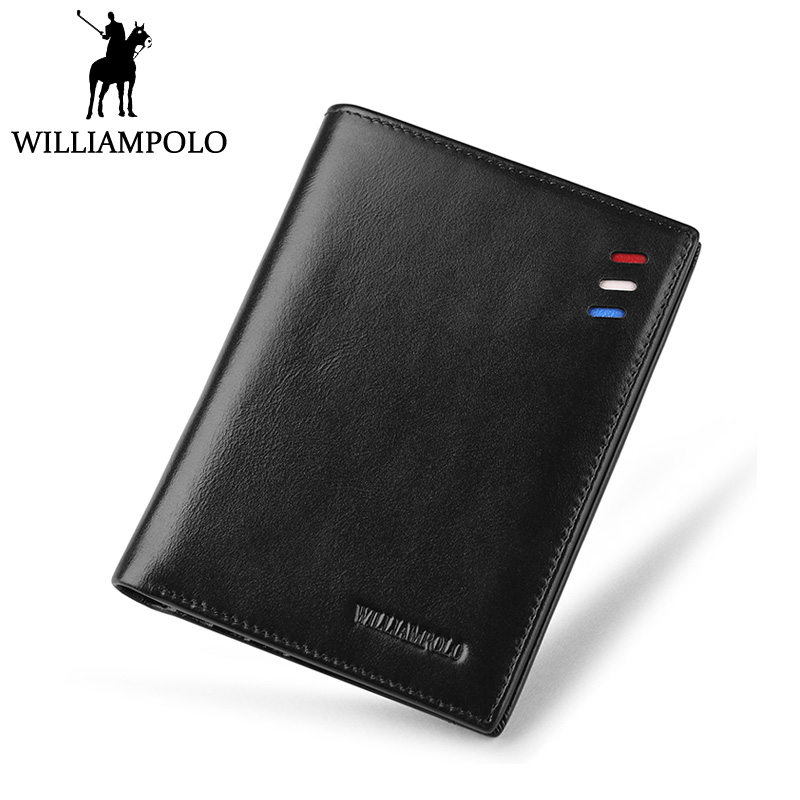 WILLIAMPOLO Luxury Brand Men Wallet Leather Purse With Removable Card Holder Cowhide Money Bag Black Brown men business real cowhide leather three style money bag wallet