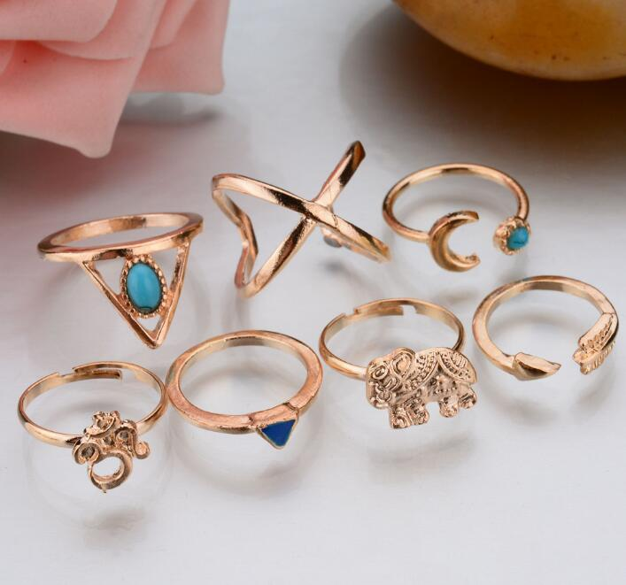 7 pcs/1 set Hot Cool Fashion Women Jewelry Accessories Fashion Ring Set Elephant Triangle Midi Finger Rings Set Punk Joint Ring