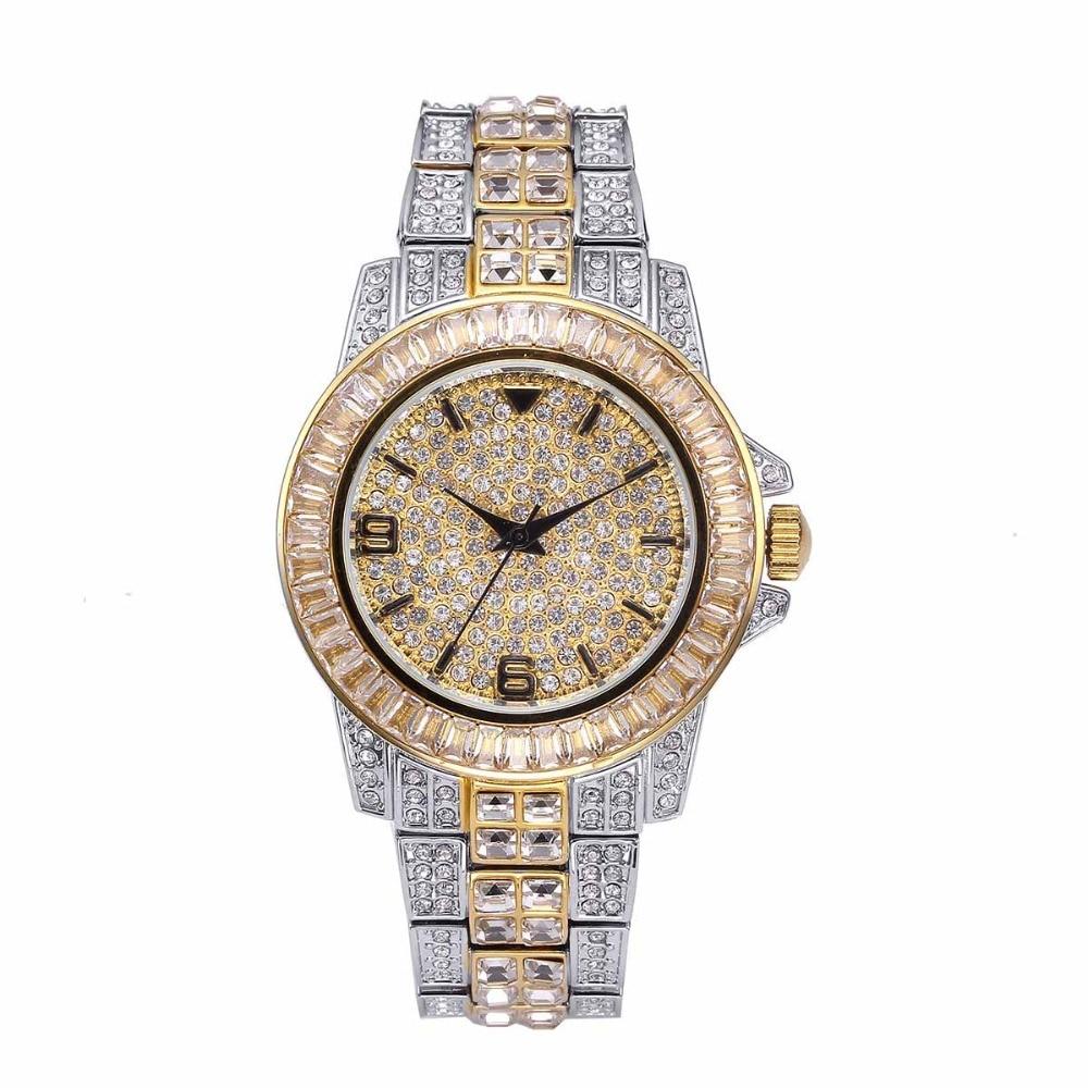 com micro pave cz aço inoxidável pulseira relógio horas