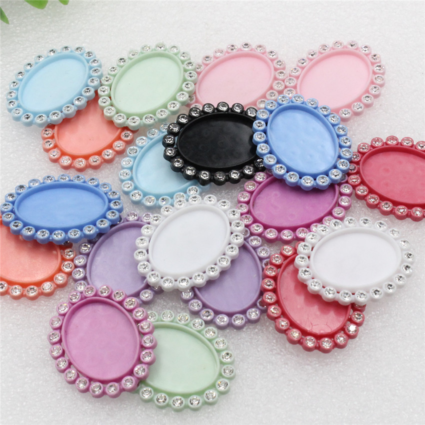 Fit 18*25mm Oval Cabochons Resin With Rhinestone Cameo/Glass/Cabochon Frame Bezel Base Setting DIY-Accessory Making Tray 20pcs