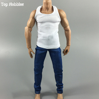 Toys & Hobbies 1/6th Accessories Male/Man Clothes Set White Slim Vest & Blue Jeans Suit for 12inch Muscle Action Figure Body