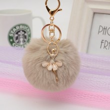 Gold Key Chain Pom Pom Key Rings Fake Rabbit Fur Ball KeyChain Pompom Angel Girl Fourrure Pompon Women Bag Charms Jewelry
