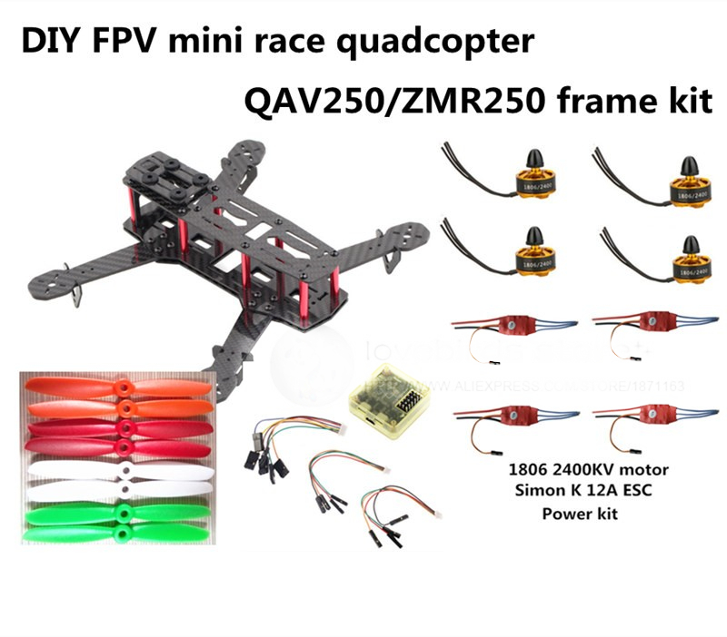 DIY FPV mini drone ZMR250 frame kit pure carbon fiber frame + 1806 2400KV motor + Simon K 12A ESC + CC3D + 5045 ABS propellers diy mini fpv 250 racing quadcopter carbon fiber frame run with 4s kit cc3d emax mt2204 ii 2300kv dragonfly 12a esc opto