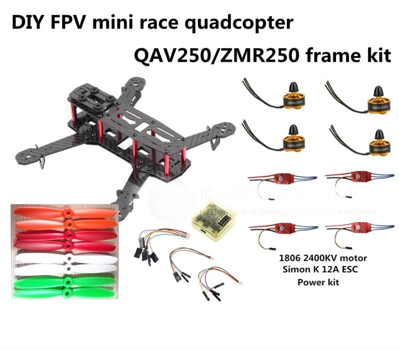 DIY FPV mini drone ZMR250 frame kit pure carbon fiber frame + 1806 2400KV motor + Simon K 12A ESC + CC3D + 5045 ABS propellers fpv mini drone diy zmr250 h250 quadcopter frame kit with mt1806 2280kv motor emax simon k blheli 12a esc cc3d fight control
