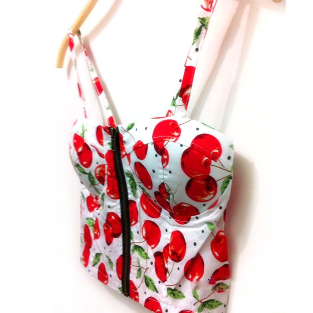 font b Women b font Sexy Zipper font b Floral b font Vintage Padded Bustier