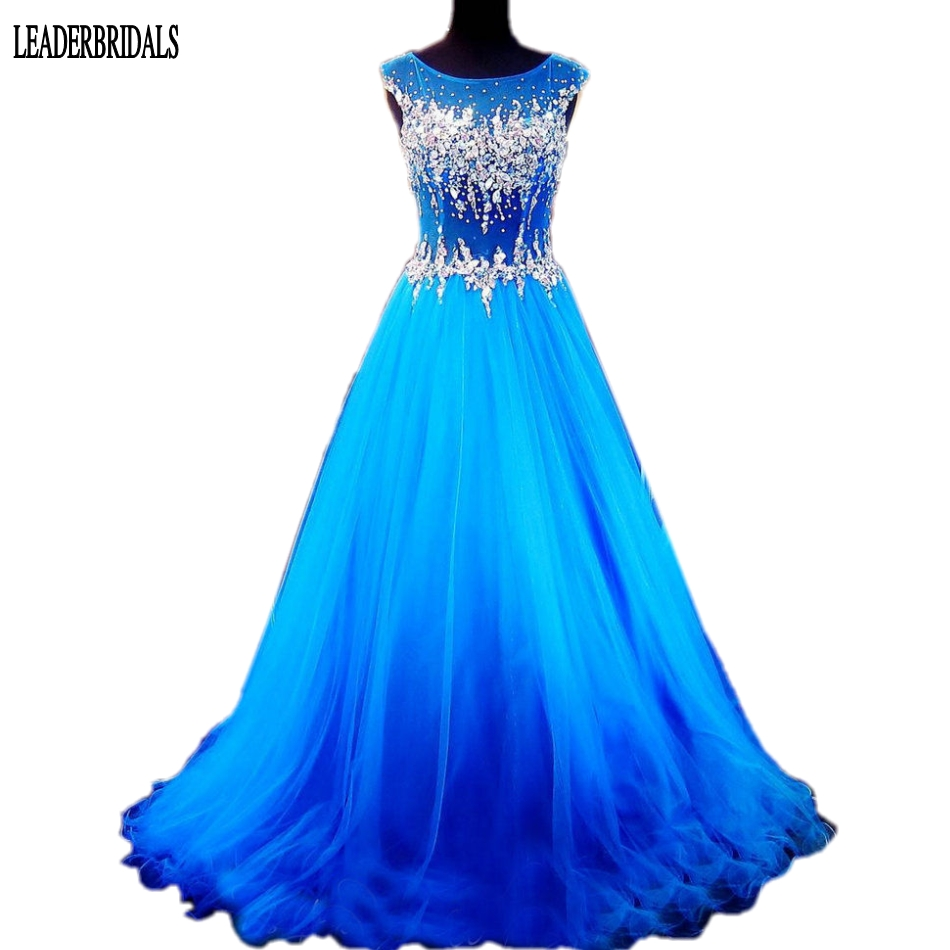 2018 Sleeveless Prom Dress Elegant Scoop Tulle Plus Size Holloween Stock Custom Party Evening Gowns Sheer Bodice Party Dresses