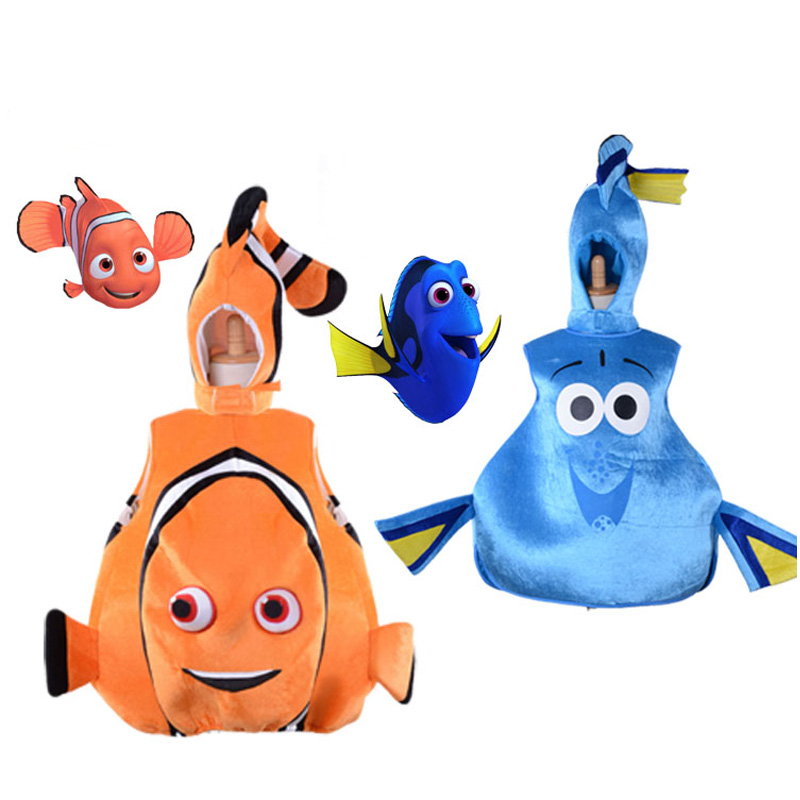 Children Kid Adult Halloween Party Cosplay Clownfish Finding Nemo Blue Finding Dory Dori Toddler Fish Costume Hat Clothes Vest