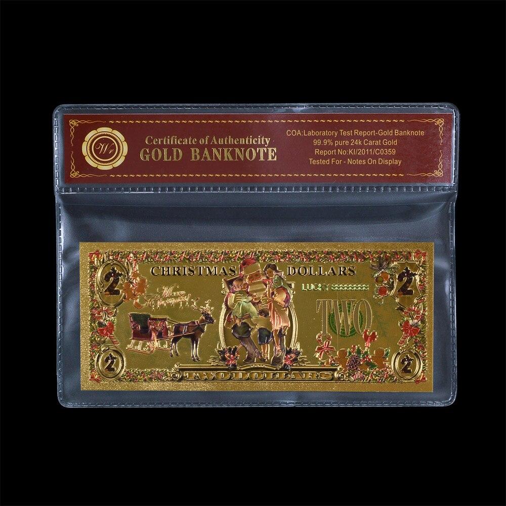 WR Frohe Weihnachten Metall Goldfolie Banknoten Bunte USD 2 Dollar ...