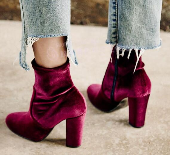 2017 Spring newest round toe thick heels woman boots wine red velvet high heel boots sexy runway ankle boots stretch fabric boot 2017 spring summer newest round toe