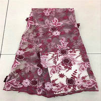 New Arrival Pretty African 3D Lace Fabric With Beads Embroidery French Tulle Lace Fabric With 3D Flowers 5 Yards Per Lot 30