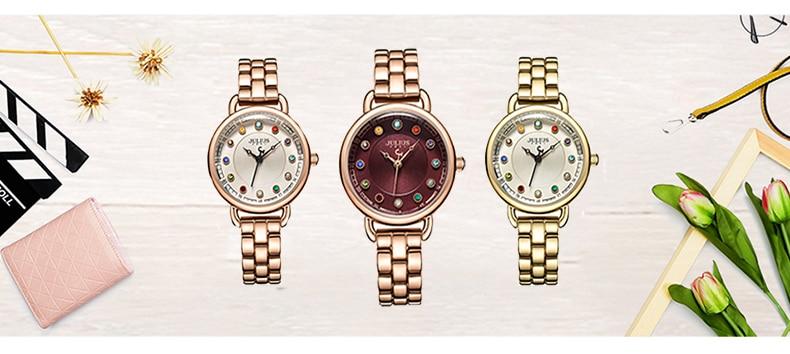 ساعة يد نسائية مرصعة ب 12 لون من حجر الراين 1