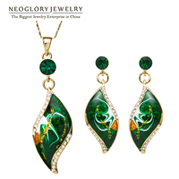 Neoglory MADE WITH SWAROVSKI ELEMENTS Rhinestone 14K Gold Plated Jewelry Sets Necklace Earrings Leaf Style For