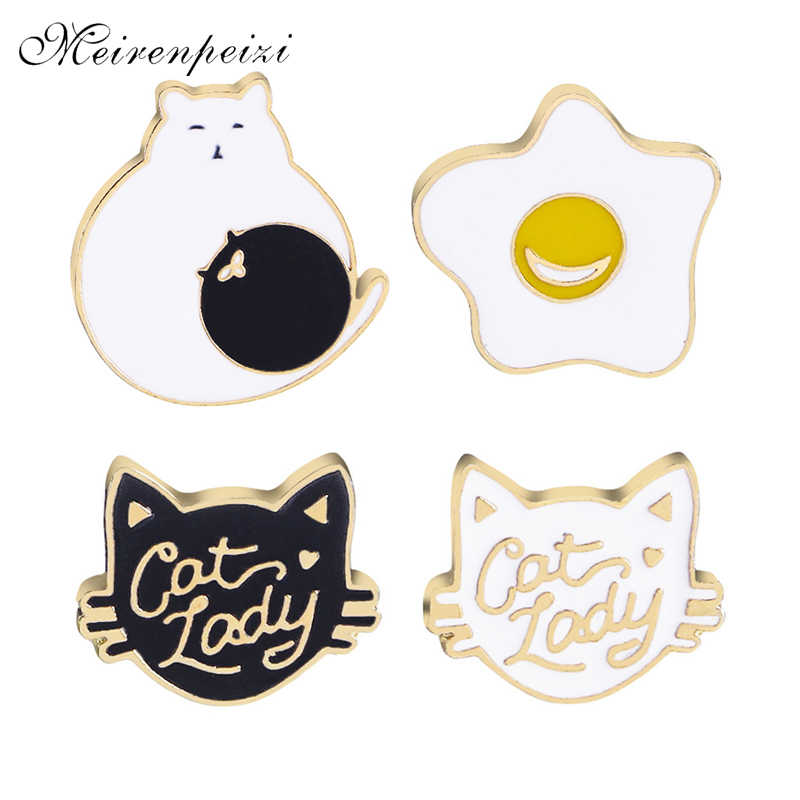 enamel animal pins brooches cartoon cute cat lady brooch black white cat catch ball Omelette lapel pin badge Button brooch coat