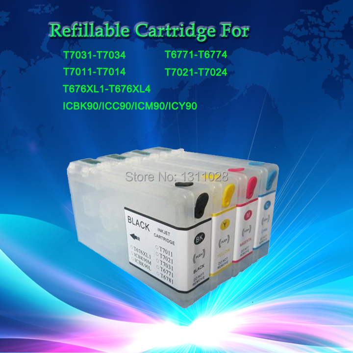 INK WAY ICBK90 ICC90 ICM90 ICY90 Refillable ink cartridge for EP PX-B750F/ PX-700 with auto reset chip,1 Set, 4 PCS