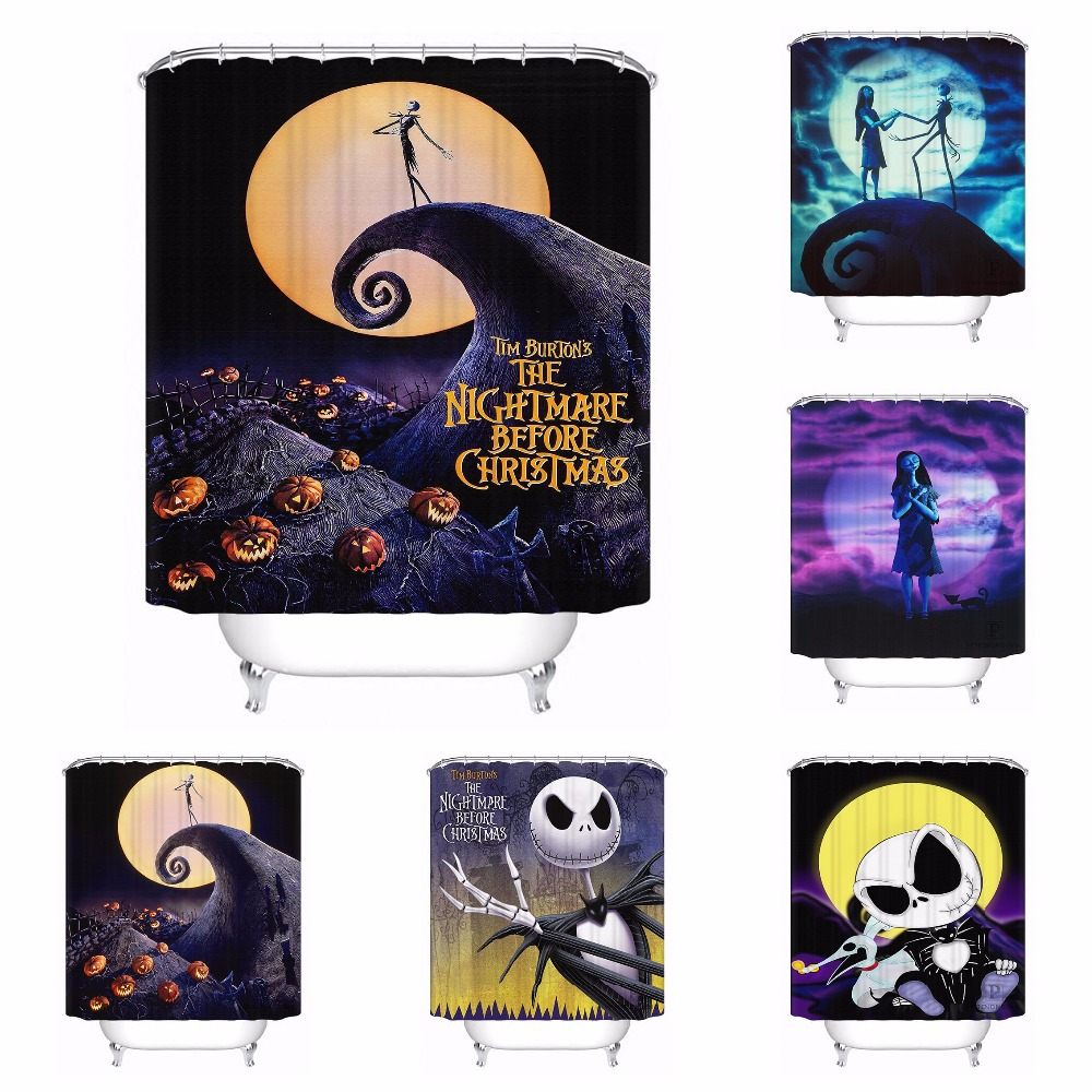custom waterproof shower curtain nightmare before christmas printed bathroom decor various sizes 180320 02 - Nightmare Before Christmas Bathroom Decor