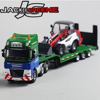 New sale 1pc 1:50 27cm Cadeve engineering trailer forklift flatbed truck carrier vehicle simulation model alloy car gift toy