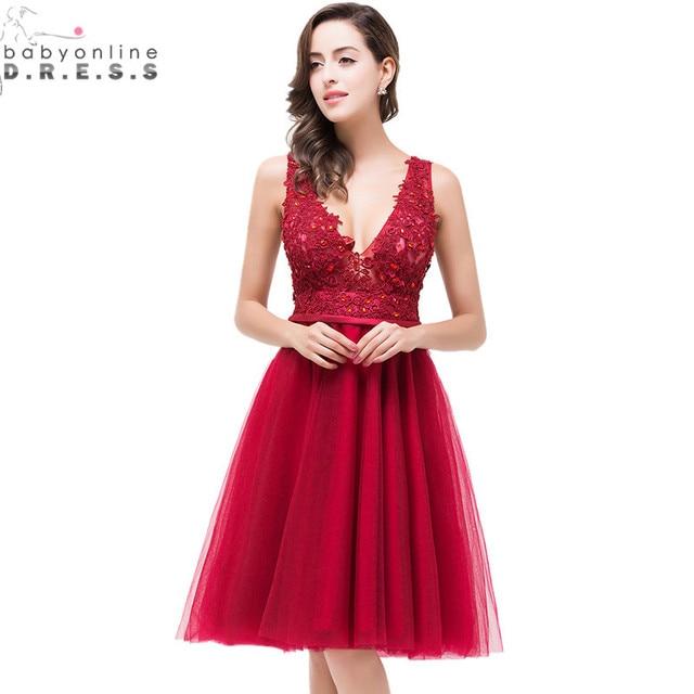 5a66751b75c Tulle Appliques Lace Beaded Burgundy Short Prom Dresses 2017 Vestidos  Cortos De Gala A Line V Neck Knee Length Robe De Soiree