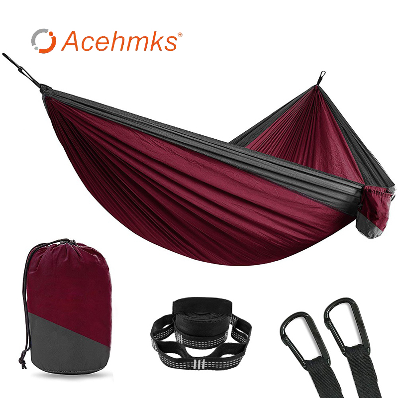Acehmks Outdoor Furniture Black Snap Garden Swing Camping Travel Hammock Two-person 2 Person Nylon Ultralight Portable Hammock Pure White And Translucent