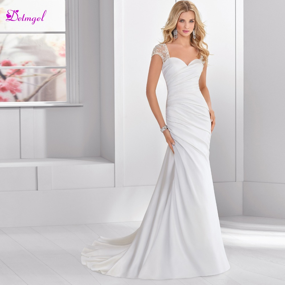 Sweetheart Neckline Lace Mermaid Wedding Dresses New 2019: Detmgel Elegant Pleated Sweetheart Neck Lace Up Mermaid