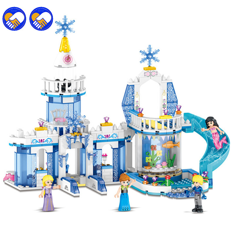 344pcs Compatible Legoinglys Friends Snow Princess Elsa Ice Castle Princess Anna 2 In 1 Building Blocks Kit Toys Girls' Gifts